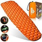 Outdoorsman Lab Inflatable Sleeping Pad – Ultralight, Compact Inflating Pads - Portable Bed Mat for Travel, Hiking, Backpacking - Folding Air Mattress for Sleep Bag, Camping Accessories (Orange)