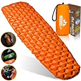Outdoorsman Lab Inflatable Sleeping Pad - Ultralight, Compact Inflating Pads - Portable Bed Mat for Travel, Hiking, Backpacking - Folding Air Mattress for Sleep Bag, Camping Accessories (Orange)