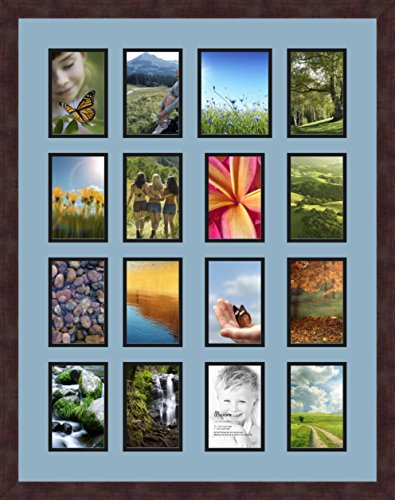 Art to Frames Double-Multimat-577-716/89-FRBW26061 Collage Frame Photo Mat Double Mat with 15-4x6 and 1-5x6 Openings and Espresso Frame