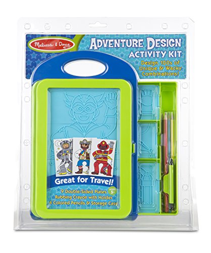 Melissa & Doug Adventure Design Activity Kit: 9 Double-Sided Plates, 4 Colored Pencils, Crayon