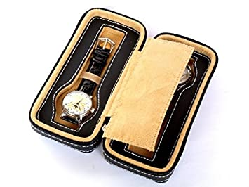 Estuche con cremallera para 2 relojes PU Negro