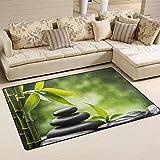 WellLee Area Rug,Bamboo Zen Stone Floor Rug Non-Slip Doormat for Living Dining Dorm Room Bedroom Decor 60x39 inch