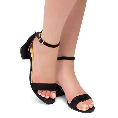 Strap Block Chunky Low Heeled Sandal Comfortable Office Pump Shoes