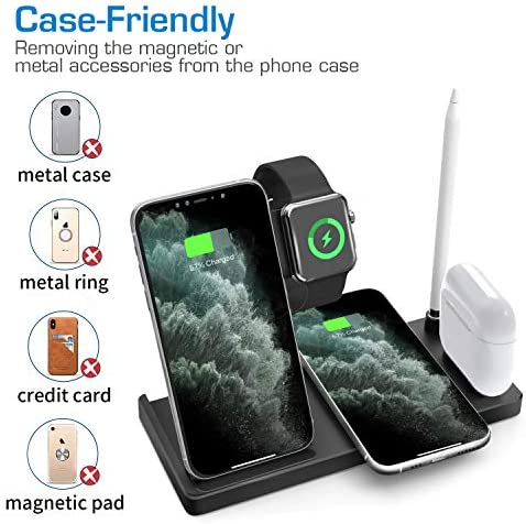 WAITIEE Updated Version,Wireless Charger 5 in 1,Qi Wireless Charging Station for iWatch 6/5/4/3/2/1& AirPods3/2/1 & Pencil & iPhone 12/11/11 Pro Max/XR/XS Max/Xs/X/8/8P Black(No iWatch Charging Cable)