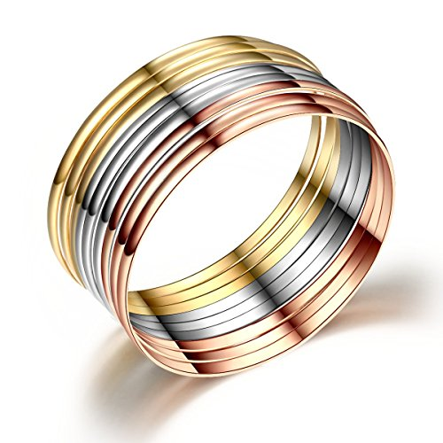 Set of 9 Bracelet Bangle In Stainless Steel Value Pack Tri-Color Silver/ Rose Gold/ Gold-tone 8.5 Inches Bangle Yellow Jewelry Set