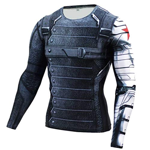 Long Sleeve Winter Soldier Compression T Shirt for Mens Dri-Fit L]()