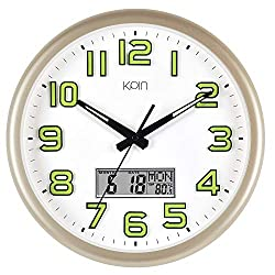Kpin Silent Non-Ticking Large 14-Inch Wall Clock Night Lights for Indoor/Bedroom of Large Number Battery Operated with LCD Display(Gold, 14 LCD)