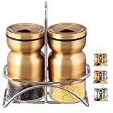 SILUKER Salt and Pepper Shakers Set with Adjustable Holes -Premium Brushed Stainless Steel with Glass Bottom and Stand + BONUS FREE Wooden Cooking Spoon(Bronze)