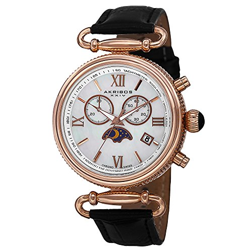 - Akribos XXIV Women's AK754BKR Swiss Chronograph Quartz Movement Watch with White/White Mother of Pearl Dial and Black Leather Calfskin Strap