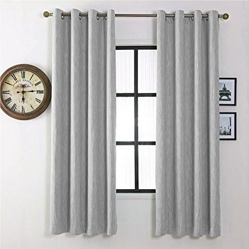 Melodieux Elegant Cotton Blackout Thermal Insulated Grommet Top Curtains/Drapes for Bedroom, 52 by 84 Inch, Grey (1 Panel)