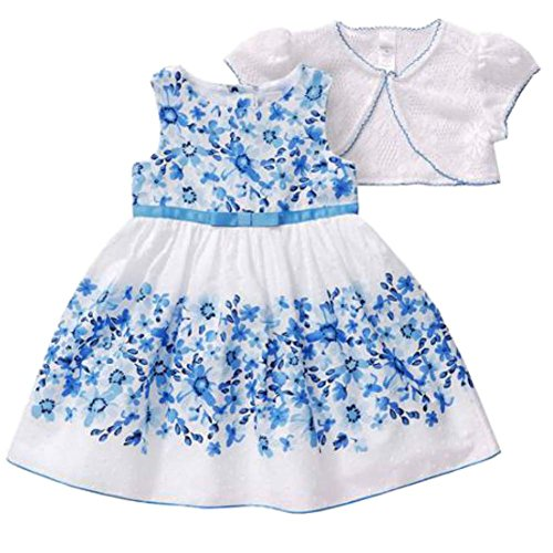 George Toddler Girls Blue White Floral Easter Holiday Dress Lace Capelet 4T
