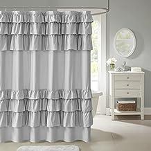 "Madison Park Grace Ruffled Shower Curtain Grey 72x72"""
