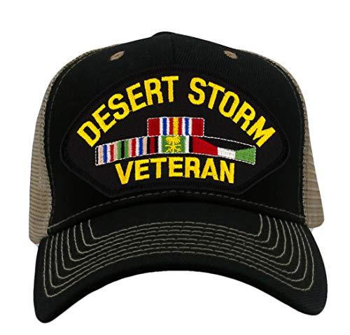 Patchtown Desert Storm Veteran Hat/Ballcap Adjustable One Size Fits Most (Mesh-Back Black & Tan, Standard (No Flag))