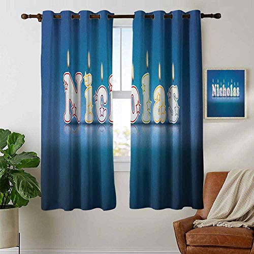 petpany Bedroom Curtains 2 Panel Sets Nicholas,Surprise Party for The Birthday Boy Child`s Name with Burning Candles, Blue and Multicolor,Complete Darkness, Noise Reducing Curtain 42