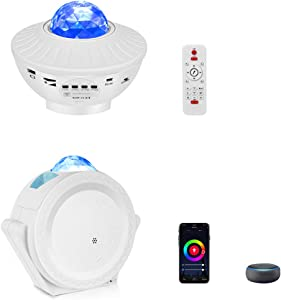 Smart Star Projector, Lacoco WIFI Star Night Light Galaxy Projector Works with Alexa Google Home,Starry Light Projector with APP Voice Control Night Sky Projector for Bedroom Kids Gift(2 Packs, White)