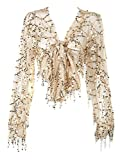 Withchic Golden Sequin Crop Shirt Sheer V-Neck Tie Front Blouse Top Cover Ups (XL)