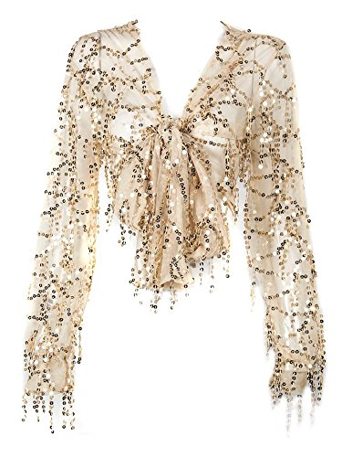 Withchic Golden Sequin Crop Shirt Sheer V-Neck Tie Front Blouse Top Cover Ups (XL) by Withchic
