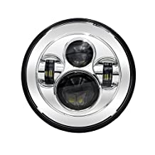 """uxcell® 1pcs 7"""" Sliver Tone Round Motorcycle LED Projector Headlight Head Lamp Bulb Fits for Harley Davidson Jeep Wrangler"""