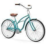sixthreezero Women's 3-Speed Beach Cruiser Bicycle, Breathe Blue w/ Brown Seat/Grips, 26