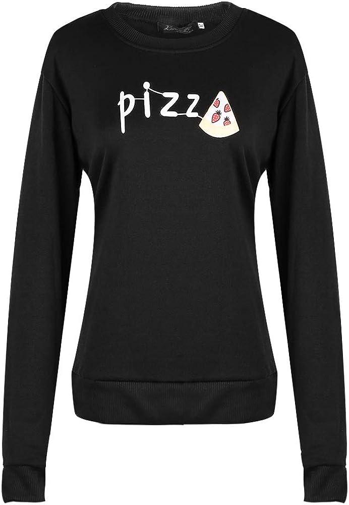 Casual Long Sleeved Velvet Sweater for Girls Women Hoodies Cute Mini Pizza Pattern Pullover