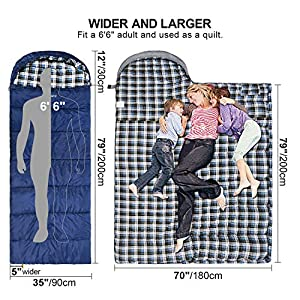 "REDCAMP Cotton Flannel Sleeping Bag for Adults, XL 32F Comfortable, Envelope with Compression Sack Blue 2lbs(95""x35"")"