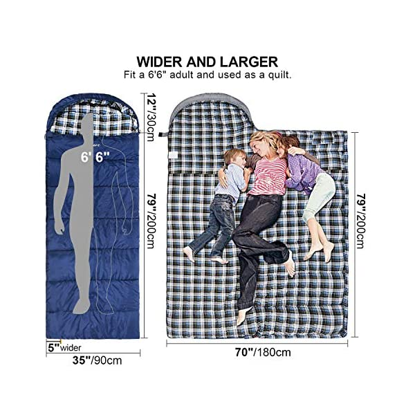 """REDCAMP Cotton Flannel Sleeping Bag for Adults, 23/32F Comfortable, Envelope with Compression Sack Blue/Grey 2/3/4lbs (91""""x35"""") 5"""