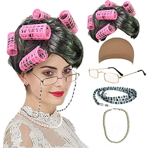 Old Lady Cosplay Set - Grandmother Wig, Wig Cap,Madea Granny Glasses, Eyeglass Chains Cords Strap, Pearl Beads (Style-9)
