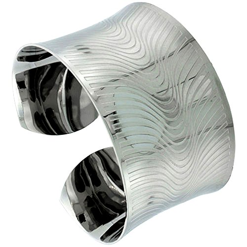 Stainless Wide Steel Cuff Bracelet for Women Concaved Etched Curvy Stripes 1 1/2 inch wide, size 7.5 inch