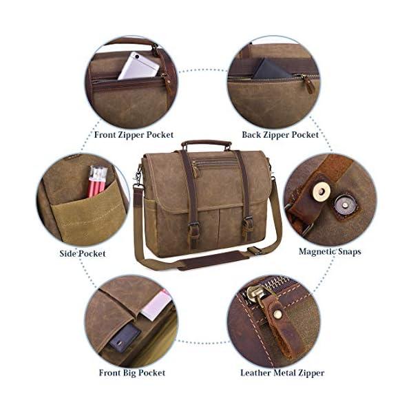 Sac Messenger Homme Sacoches Ordinateur Portable Cuir Vintage Toile Sac à Bandoulière Homme Imperméables Mallette d…