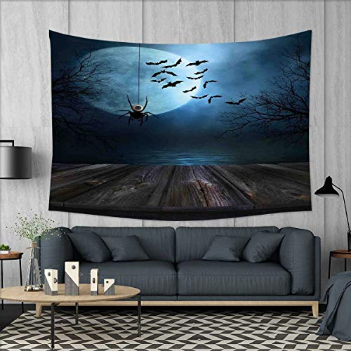 smallbeefly Halloween Tapestry Wall Tapestry Misty Lake Scene