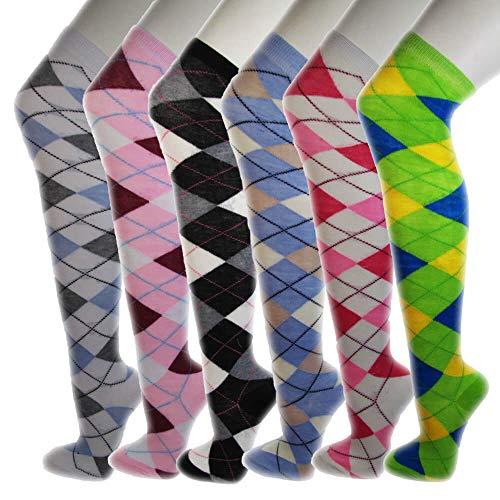 (Over Knee High Socks Women Warm Dress Tube Stocking Cosplay Socks Thigh High Leg Warmer- 6 Pair Combo (Argyle))