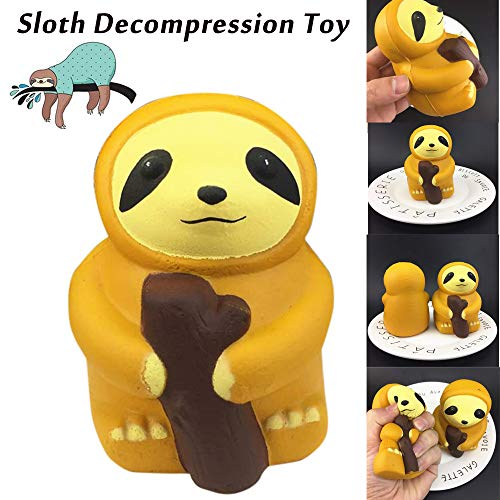 Wffo Slow Rising Squishy Toy, 1PC Cute Sloth Decompression Slow Rising Squeeze Relieve Squishies Toys (Yellow)