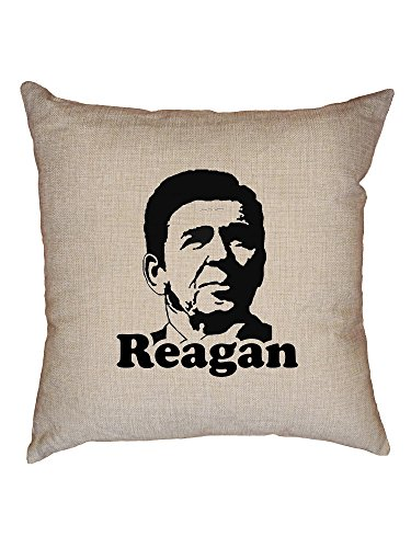 Hollywood Thread American President Reagan Trendy Political Anti-Obama Decorative Linen Throw Cushion Pillow Case with Insert ()