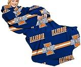 NCAA Illinois Fighting Illini Comfy Throw Blanket with Sleeves, Stripes Design