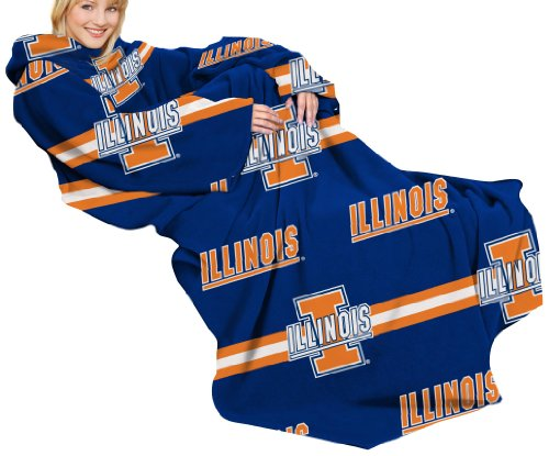 NCAA Illinois Fighting Illini Comfy Throw Blanket with Sleeves, Stripes Design (Blanket Illini Fighting)