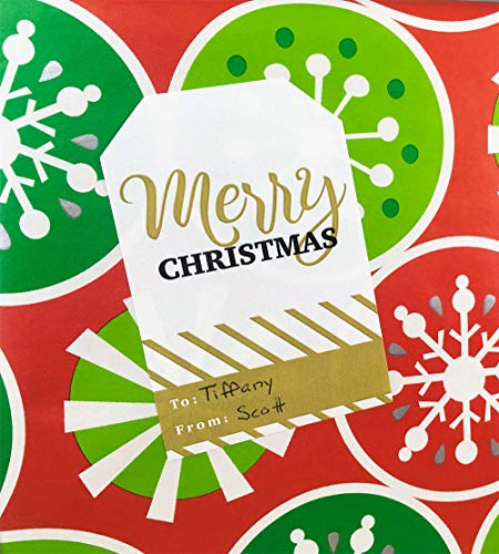 Christmas Gift Tags Holiday Present Stickers Merry & Bright 4 Different Designs 2 x 3 Inch 100 Total Labels Photo #6