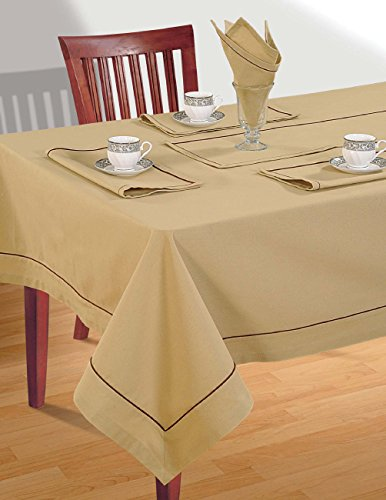 Beige Table Linen Set for 6 Seat Table: Includes Rectangular Tablecloth, 6 Napkins & Table Runner - Premium Cotton Fabric by ShalinIndia