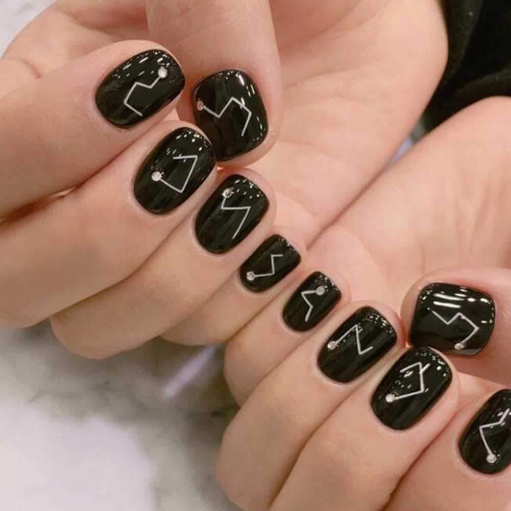Constellation - uñas cortas negras falsas uñas artificiales decoración consejos de uñas: Amazon.es: Belleza