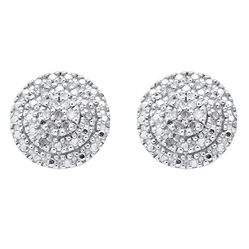 (White Diamond 18k Gold over .925 Silver Cluster Stud Earrings (.10 cttw, HI Color, I3 Clarity) )