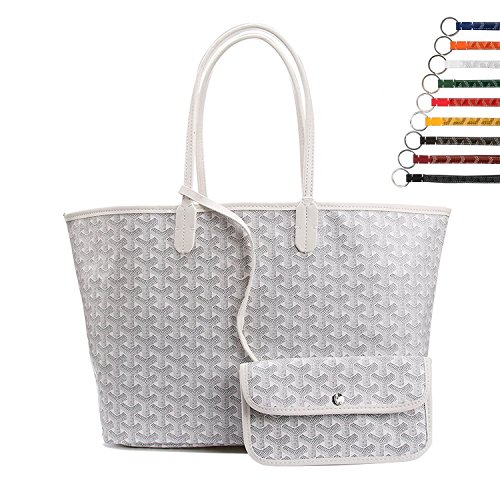 Stylesty High Grade Fashion Design Pu Shopping Shoulder Tote Bag Set Handbags with Coin Pouch, Large (White)