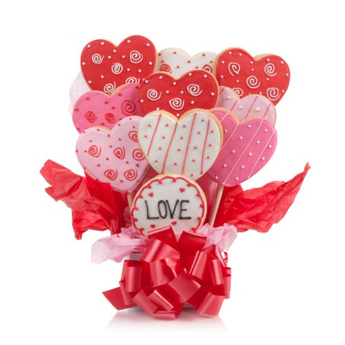 valentine's day cookie bouquet - Lovely Hearts Cookie Bouquet- 9 Pc Bouquet