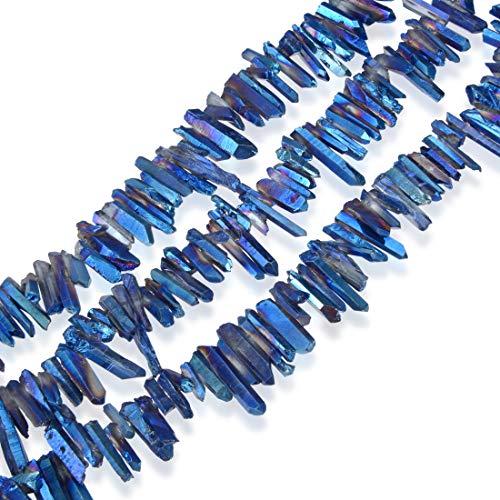 Blue Sapphire Quartz Bracelet - Top Quality Natural Crystal Quartz Pendulum Points 15 inch Sapphire Blue AB Titanium Coated Gemstone Beads for Jewelry Making GA4