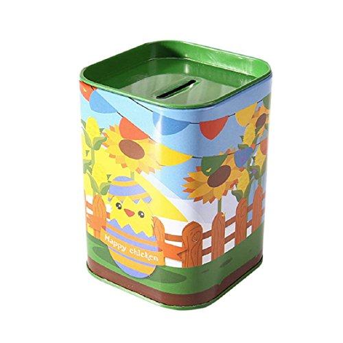 Naladoo Kids Saving Pot, Cute children Metal Candy trinket Tin Jewelry Iron Piggy Bank Coin Storage Square Box Case