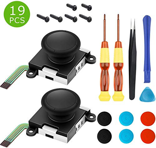2 Pack Analog 3D Joycon Joystick Replacement for Nintendo Switch, Joycon Repait Kit Switch joysticks compatiable with Left and Right Switch Joy con Controller Full NS Repair Tool Set(19 in 1)