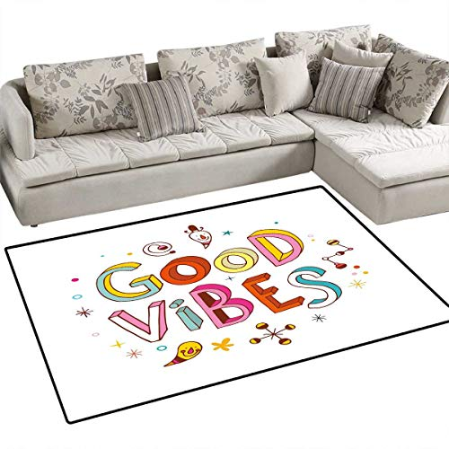 Good Vibes Anti-Skid Rugs Colorful Cheerful Fun Typography with Cartoon Style Kids Toddler Elements Print Girls Rooms Kids Rooms Nursery Decor Mats 48