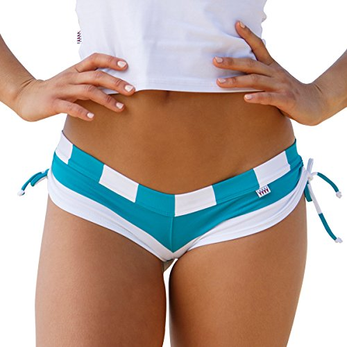 Wicked Weasel Sexy Sailor Stripe - Cheeky Booty Shorts (576) Women's Clothing (Large, Jade)