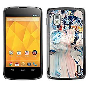 TopCaseStore / la caja del caucho duro de la cubierta de protección de la piel - White Blue Mixed Art Pollock - LG Google Nexus 4 E960