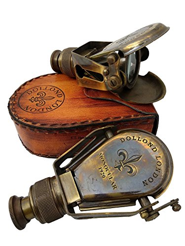 US HANDICRAFTS Antique-Style Nautical Ships Pocket-Monocular-Brass Telescope-with-Leather-Box...
