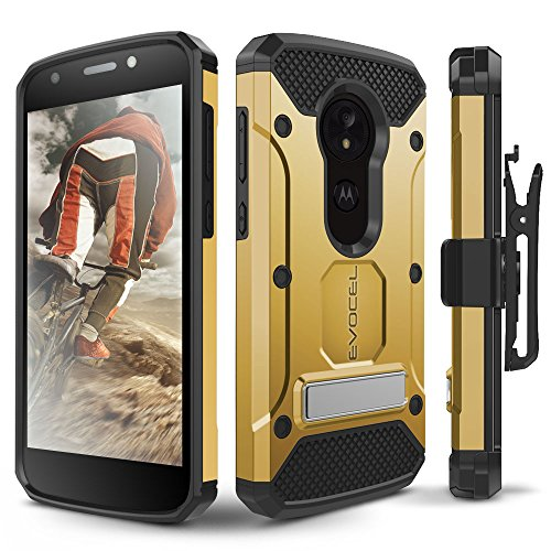 Moto E5 Play / E5 Cruise Case, Evocel [Explorer Series Pro] Premium Full Body Case with Glass Screen Protector, Belt Clip, Metal Kickstand for Motorola Moto E5 Cruise/Moto E5 Play, Gold