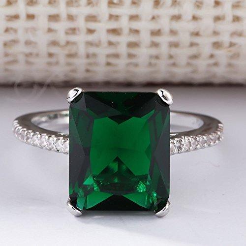 (Wassana Large 14K White Gold Filled Natural Gem Emerald Diamond Ring Wedding Jewelry (6))